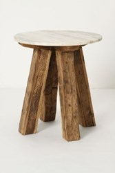 Anthropologie Marble Top Side Table Brown