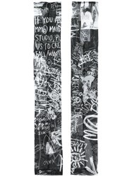 Maison Martin Margiela Mm6 Graffiti Print Fingerless Gloves Black