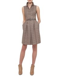 Akris Sleeveless Tortoise Print Belted Shirtdress Elephant Women's