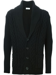 Ami Alexandre Mattiussi Shawl Neck Cable Knit Cardigan Black