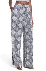 Junior Women's Sun And Shadow Print Wide Leg Pants
