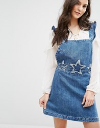 Mango Denim Dungaree Dress With Stars Embroidery Blue