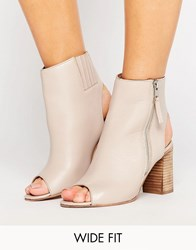 Asos Earnest Wide Fit Leather High Ankle Boots Nude Beige