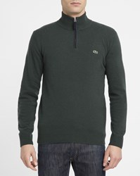 Lacoste Khaki New Wool Zip Neck Sweater With Navy Trim