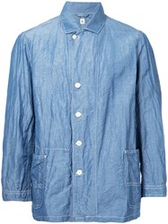 Kaptain Sunshine Patch Pocket Shirt Jacket Men Silk Linen Flax 38 Blue