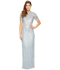 Adrianna Papell Ombre Sequin Column Gown With Elbow Length Sleeves Blue Heather Women's Dress