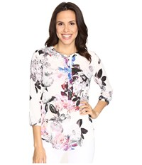 Nydj 3 4 Sleeve Pleat Back Nottingham Floral Pink Gerber Women's Blouse White