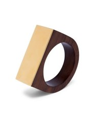 Marni Poui Wood And Goldtone Bracelet Old Gold
