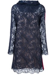 Msgm Hooded Lace Dress Blue