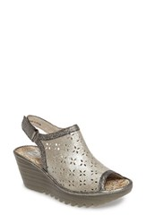 Fly London Women's Ybel Open Toe Platform Wedge Silver Metallic Leather