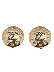 Karl Lagerfeld Vintage Rhinestone Logo Earrings Metallic