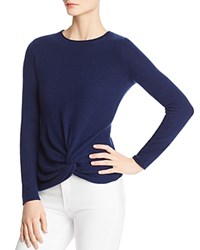 Bloomingdale's C By Twist Front Cashmere Sweater 100 Exclusive Navy