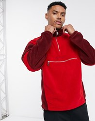 Mennace Tonal Panel Polar Fleece In 1 4 Zip In Red