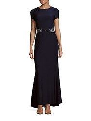 Js Boutique Embellished Waist Fishtail Dress Navy