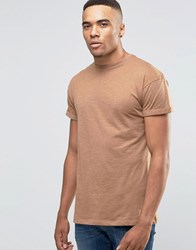 New Look Roll Sleeve T Shirt In Tan Tobacco Brown