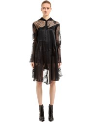 Mcq By Alexander Mcqueen Hooded Patchwork Lace And Tulle Coat Black