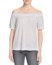 Splendid Catalina Stripe Off The Shoulder Tee White Black