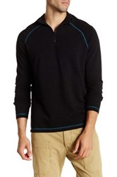 Agave Philip Long Sleeve Raglan Zip Mock Neck Pullover Black