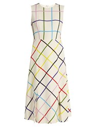Mary Katrantzou Osmond Sleeveless Checked Crepe Dress White Multi