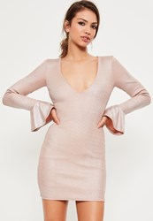 Missguided Pink Foil Rib Frill Sleeve Mini Dress