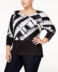 Calvin Klein Plus Size Printed Dolman Sleeve Top Black White