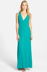 Women's Loveappella V Neck Jersey Maxi Dress Jewel Teal