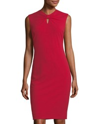 Tahari By Arthur S. Levine Bow Neck Sheath Dress Red