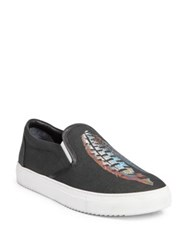 Marcelo Burlon Genek Feather Lauren Print Slip On Sneakers Black