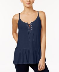 One Hart Juniors' Lace Up Tank Top Only At Macy's Insignia Blue