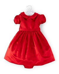 Ralph Lauren Duchess Satin Party Dress And Bloomers Red