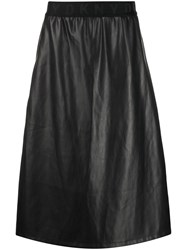 Dkny Leather Look Midi Skirt Black