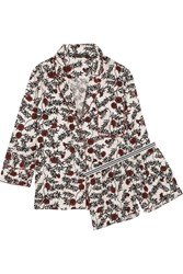 Love Stories Jude And Edie Floral Print Satin Pajama Set White