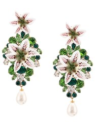 Dolce And Gabbana Embellished Lily Earrings Green