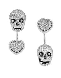 Betsey Johnson All That Glitters Cubic Zirconia Skull And Heart Front And Back Earrings Silver