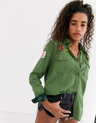 Pepe Jeans Katja Military Shirt With Patches Green