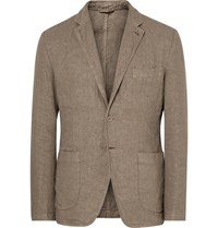 Aspesi Beige Slim Fit Unstructured Linen Blazer Mushroom
