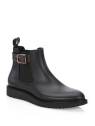 Saks Fifth Avenue Collection Buckle Rubber Chelsea Boots Black Brown