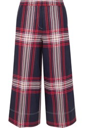 By Malene Birger Ilan Cropped Checked Linen And Cotton Blend Wide Leg Pants Blue