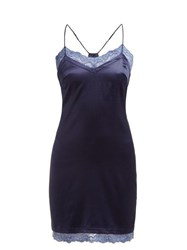 La Perla Embrace Silk Blend Charmeuse Slip Blue