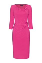 James Lakeland 3 4 Sleeve Side Ruched Dress Pink