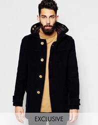 Gloverall Duffle Coat With Contrast Buttons Exclusive Navy