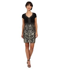 Adrianna Papell Matte Jersey Bodice With Lace Metallic Skirt Black Gold Women's Dress