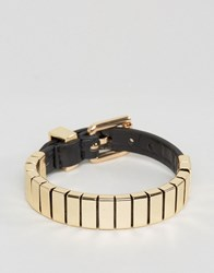 Asos Bracelet In Black With Buckle Fastening Black