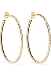 Alison Lou Medium Linear 14 Karat Gold And Enamel Diamond Earrings