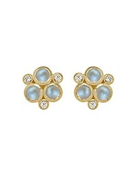 Temple St. Clair Classic Trio Earrings With Royal Blue Moonstone And Diamonds In 18K Yellow Gold Blue Gold