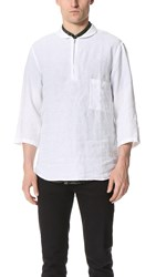 Shades Of Grey 3 4 Sleeve Shawl Collar Shirt White