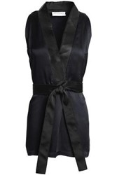 Amanda Wakeley Mesh Trimmed Satin Crepe Wrap Top Midnight Blue