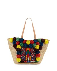 Flora Bella Neptune Pompom Beach Tote Bag Neutral Multicolor Neutral Pattern