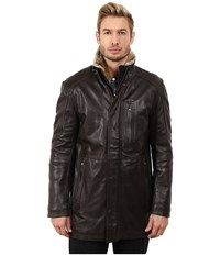 Marc New York Stuyvesant Smooth Lamb Car Coat W Removable Faux Fur Trimmed Bib Espresso Men's Coat Brown