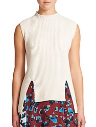 Tanya Taylor Sim Sleeveless Mockneck Sweater White